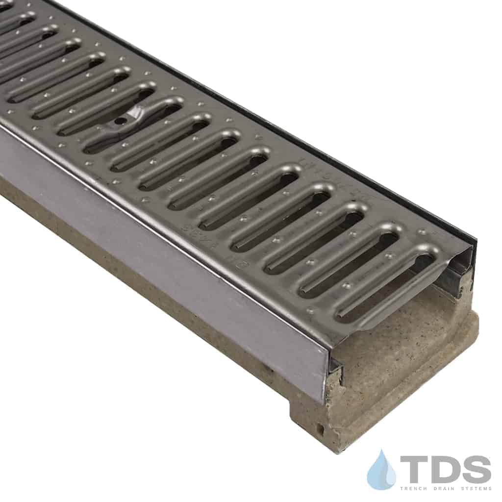 ULMA M100KX stainless steel edged polymer concrete channel with 450 stainless steel slotted grate
