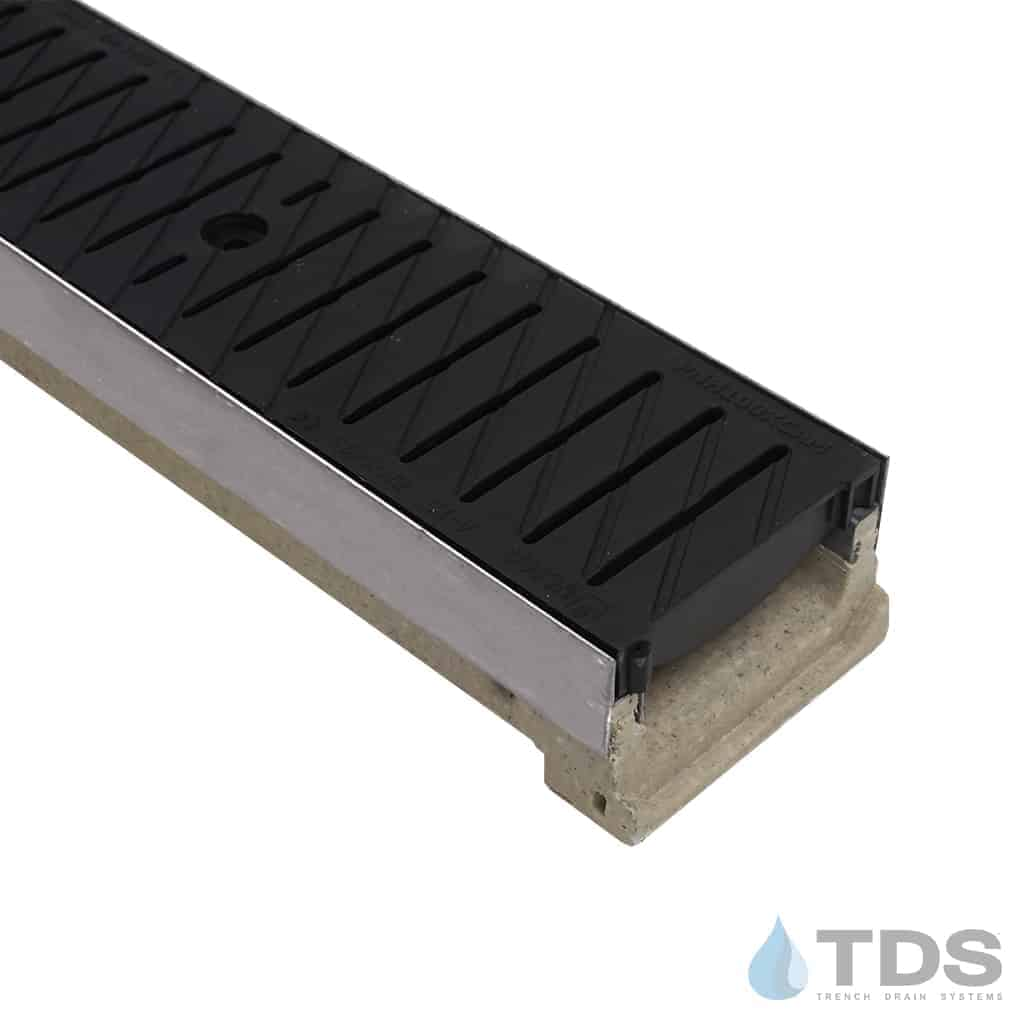 ULMA M100KX polymer concrete linear channel with stainless edge and 494 black poly grate
