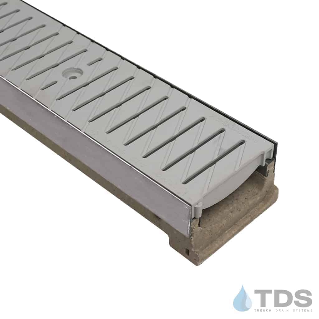 M100KX Polymer concrete linear channel with stainless steel edge with 495 grey poly grates