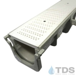 NDS Dura Slope channel with White perforated grate NDS671
