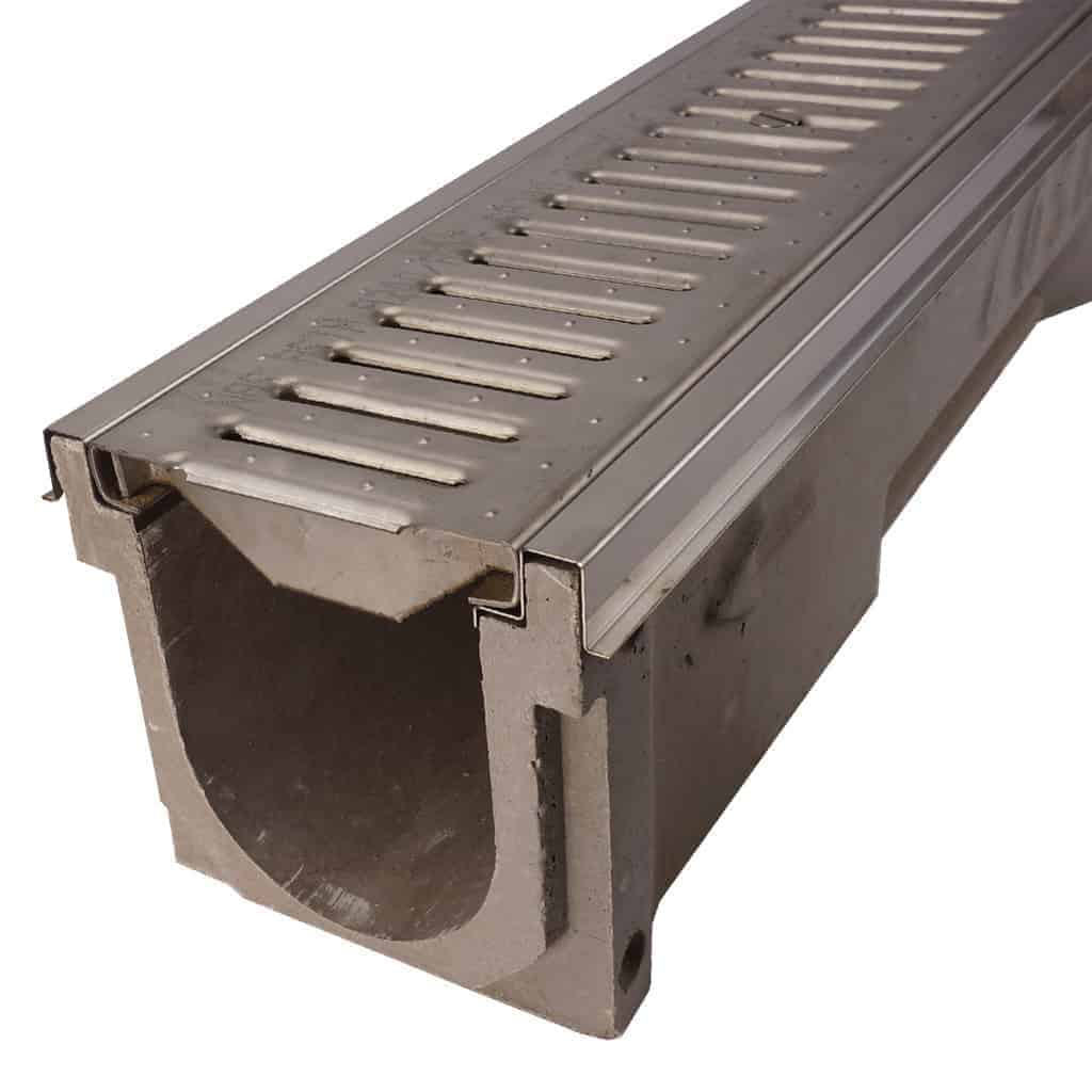 POLYCAST Vinyl Ester channel with stainless steel edging and reinforced stainless steel slotted grate