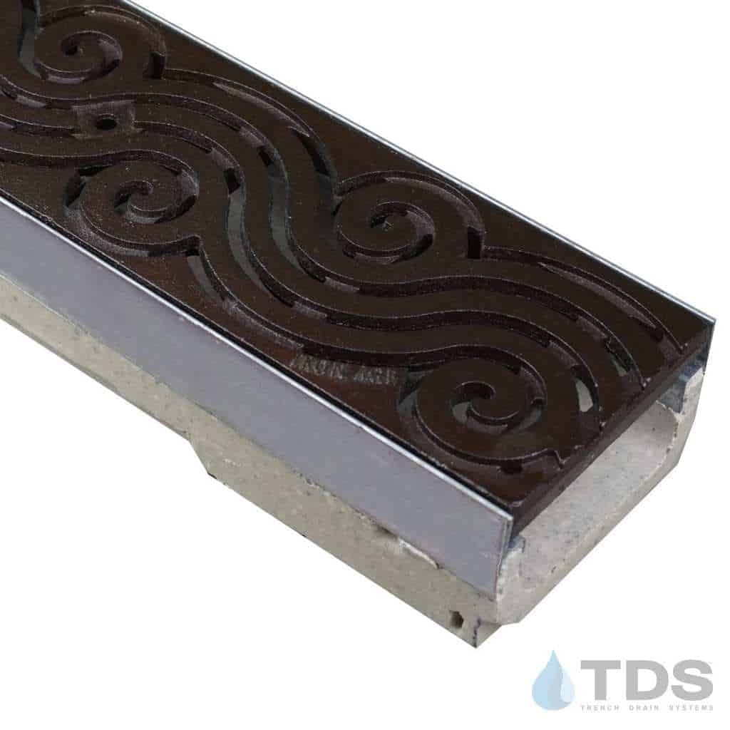 ULMA shallow drain channel with stainless steel edge and Iron Age Argo grate with Baked on Oil Finish