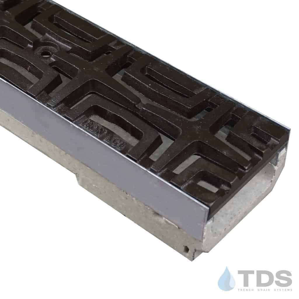 ULMA shallow drain channel with stainless steel edge and Iron Age Carbochon grate with Baked on Oil Finish
