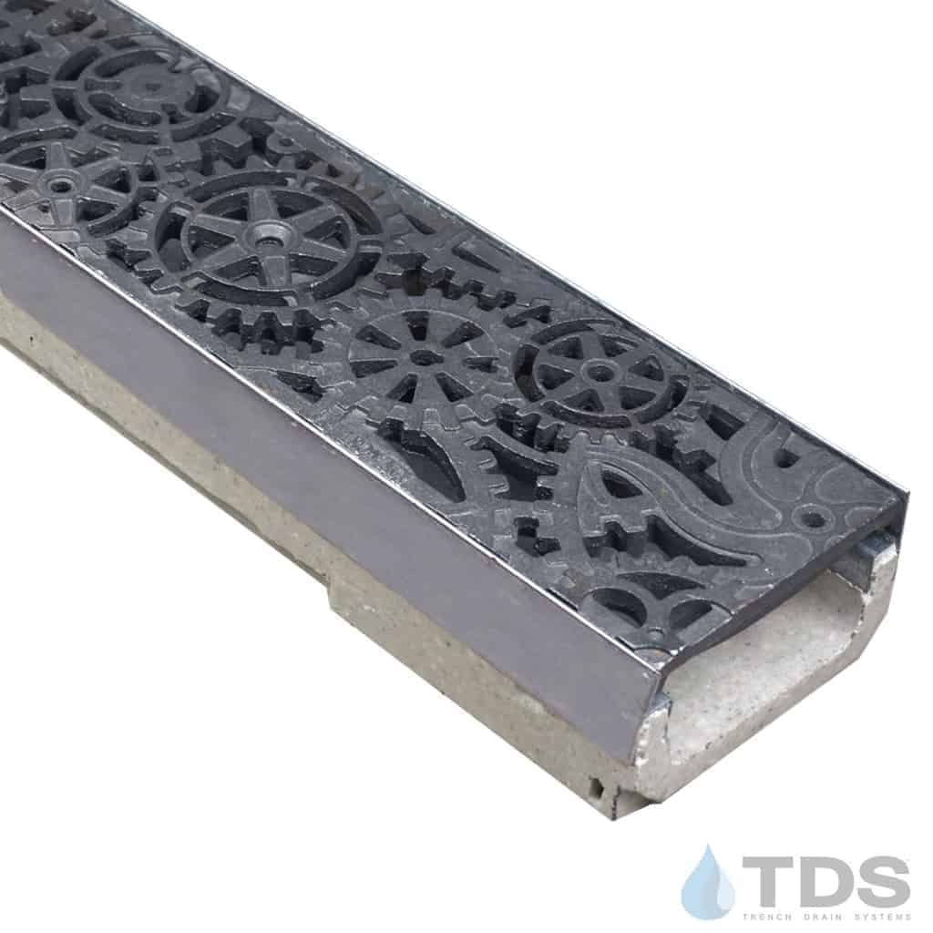 ULMA shallow drain channel with stainless steel edge and Iron Age Dynamo grate