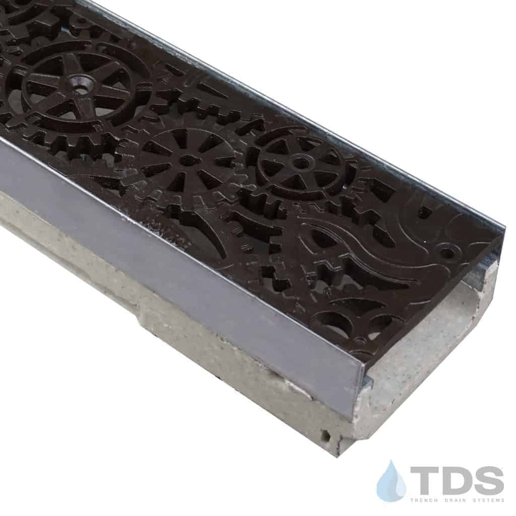 ULMA shallow drain channel with stainless steel edge and Iron Age Dynamo grate with Baked on Oil Finish