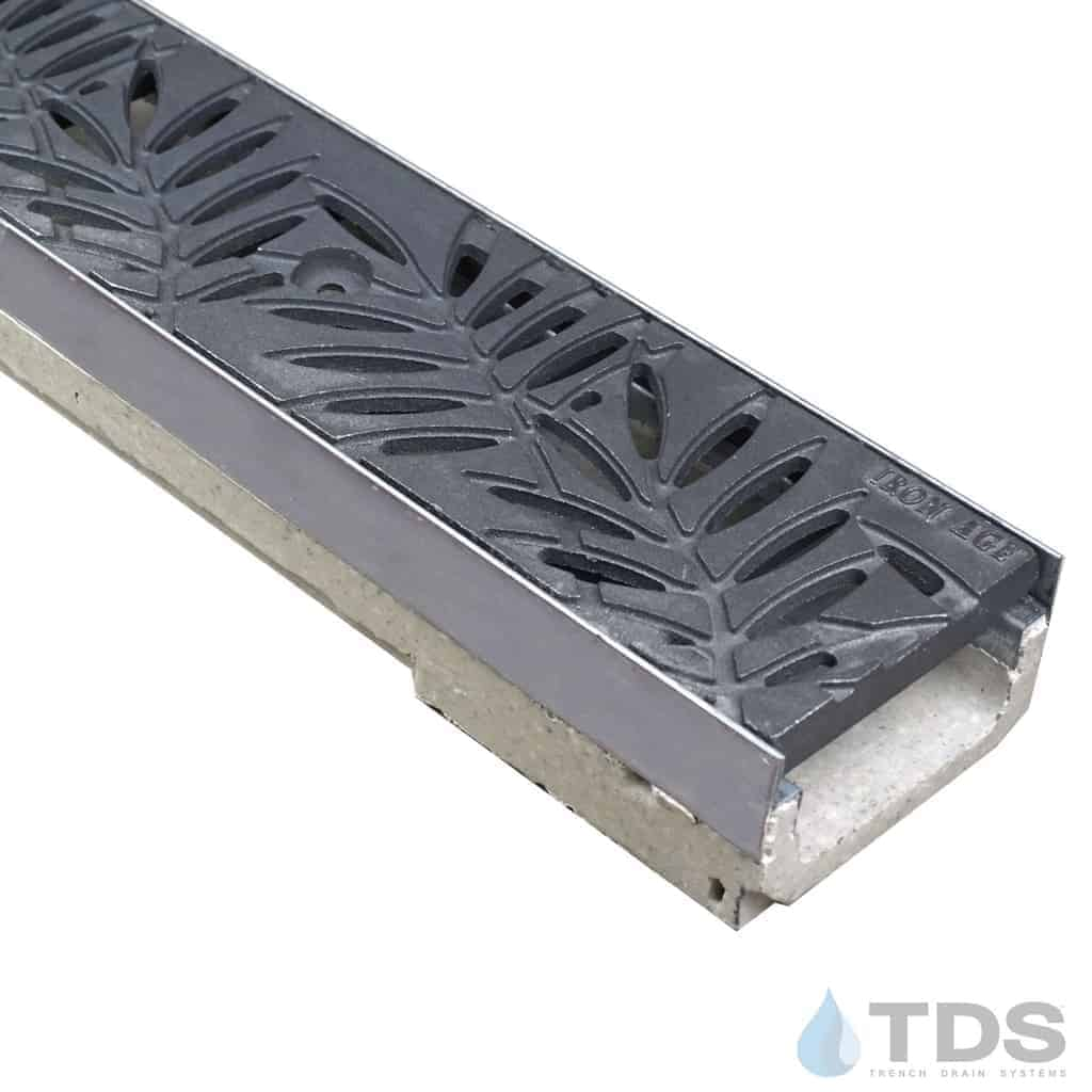 ULMA shallow drain channel with stainless steel edge and Iron Age Locust grate