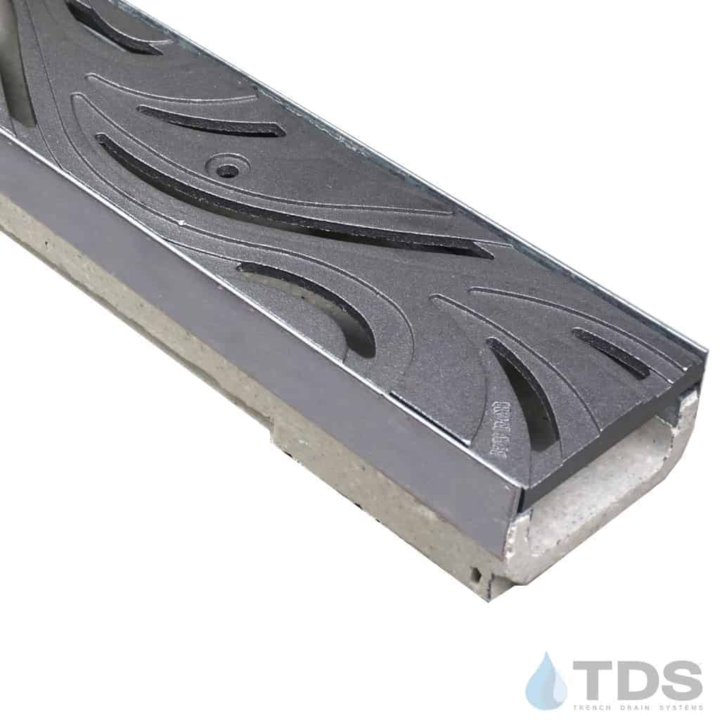 ULMA shallow drain channel with stainless steel edge and Iron Age Minnione grate