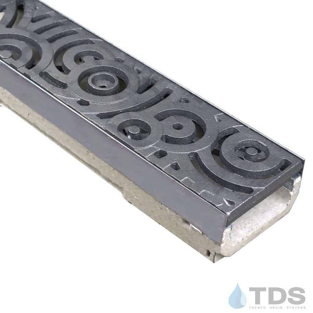 ULMA shallow drain channel with stainless steel edge and Iron Age Oblio grate