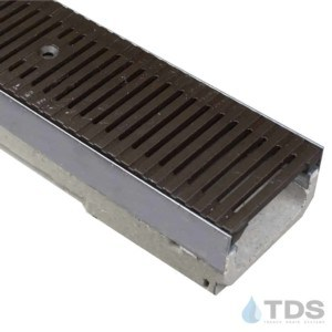 ULMA shallow drain channel with stainless steel edge and Iron Age Regular Joe heel-friendly grate with Baked on Oil Finish