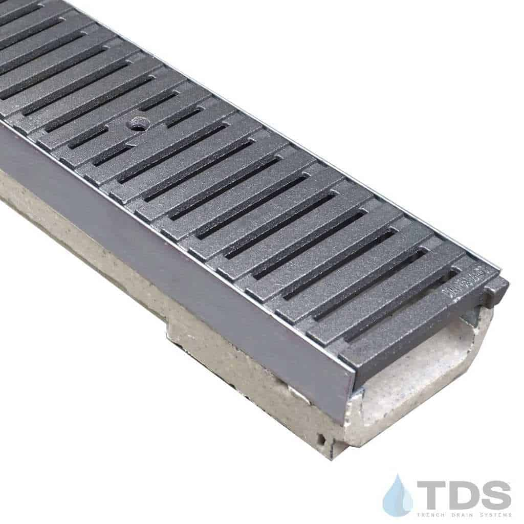 ULMA shallow drain channel with stainless steel edge and Iron Age Regular Joe cast iron grate