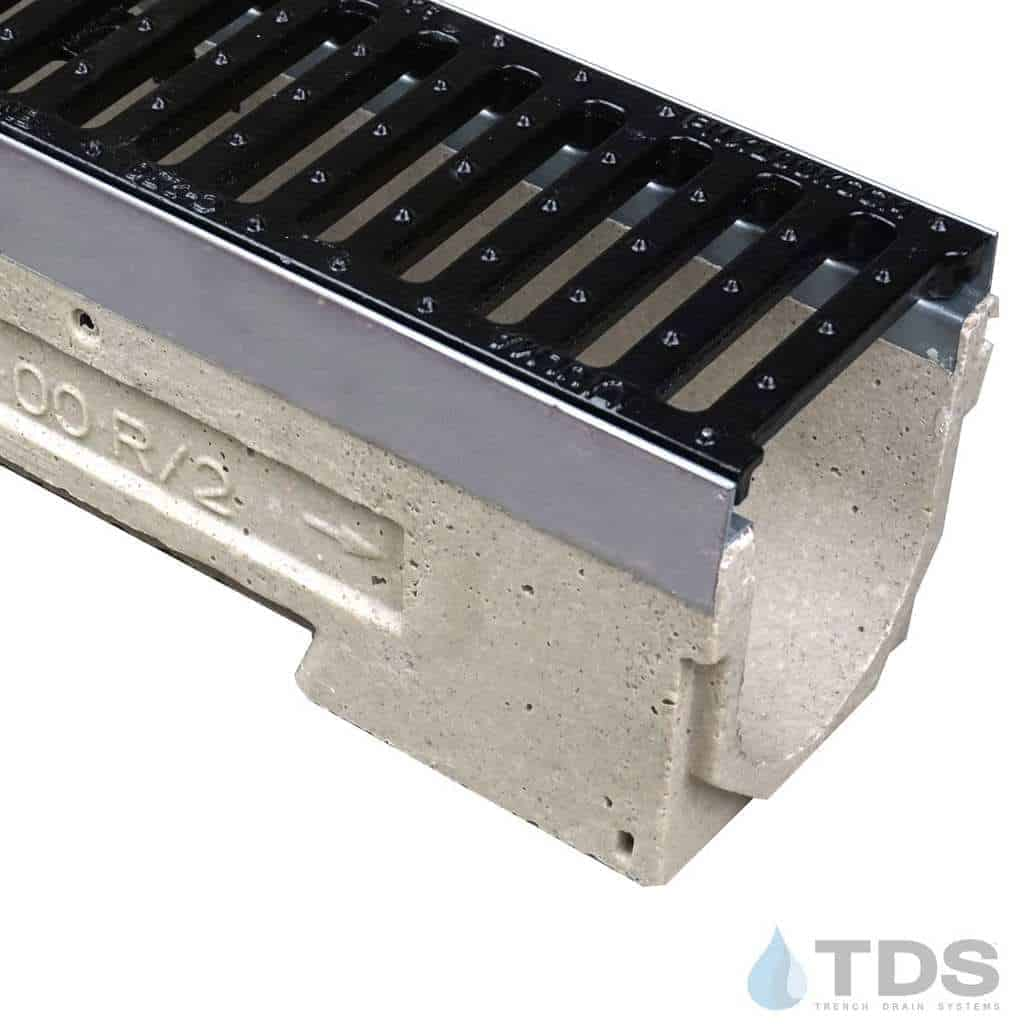 ULMA drain channel with stainless steel edge and ductile iron slotted grate