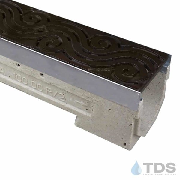 ULMA drain channel with stainless steel edge and Iron Age Argo Baked on Oil Finish grate