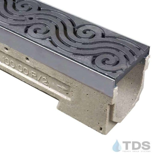 ULMA drain channel with stainless steel edge and Iron Age Argo grate