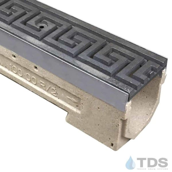 ULMA drain channel with stainless steel edge and Iron Age Greek Key grate