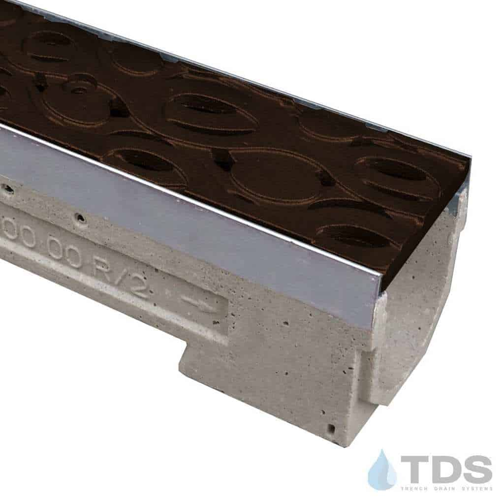 ULMA drain channel with stainless steel edge and Iron Age Janis Baked on Oil Finish grate