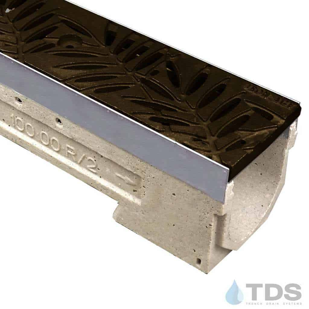 ULMA drain channel with stainless steel edge and Iron Age Locust Baked on Oil Finish grate