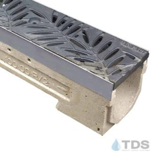 ULMA drain channel with stainless steel edge and Iron Age Locust grate