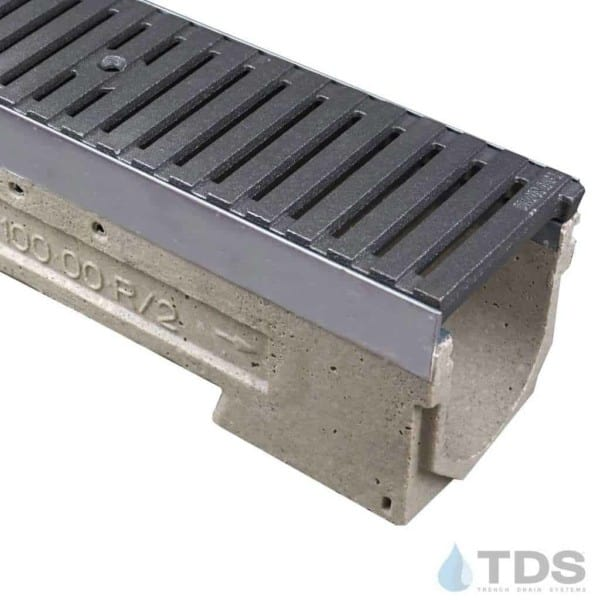 ULMA drain channel with stainless steel edge and Iron Age Regular Joe grate