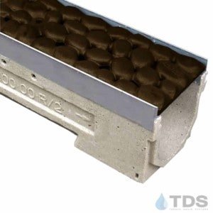 ULMA drain channel with stainless steel edge and Iron Age River Rock grate