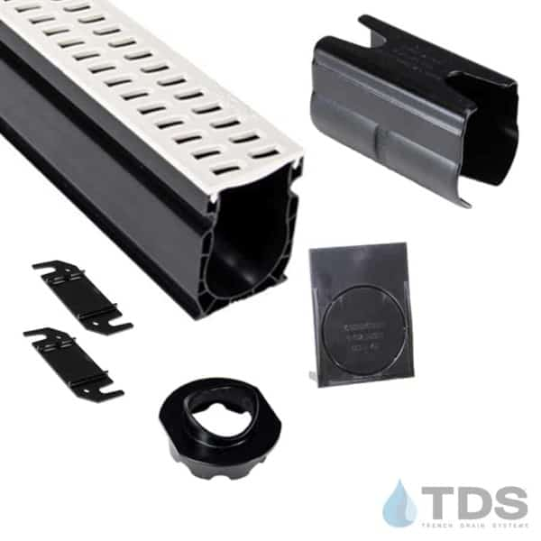 NDS Slim Channel Kit with White Slotted Grate