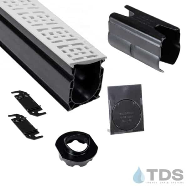 NDS Slim Channel Kit with White Square Grate