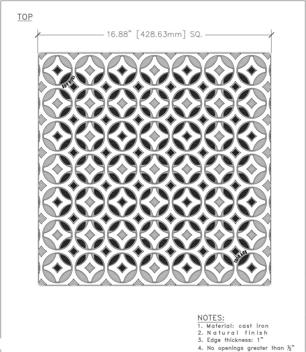 Iron Age 18x18 catch basin grate- Interlaken pattern - cut sheet