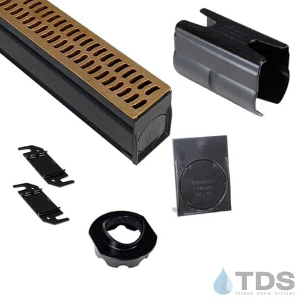 NDS Slim Channel Kit with BA-SLOT-0212 Natural Bronze Slotted Grate