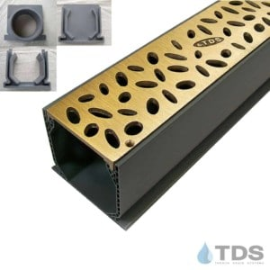 NDS Mini Channel with Brushed Bronze Rain Drop Grate MCK-BA-RAIN-B