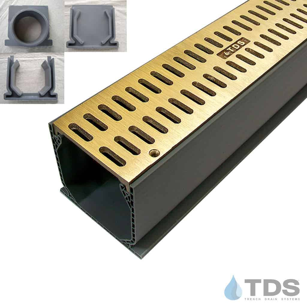 NDS Mini Channel with Brushed Bronze Slotted Grate MCK-BA-SLOT-B