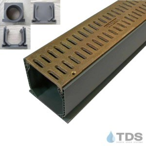 NDS Mini Channel with Natural Bronze Slotted Grate MCK-BA-SLOT