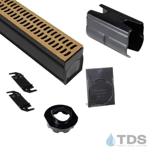 NDS-Slim Channel Kit with TDS Bronze Age Brushed Bronze Slotted Grate BA-SLOT-0212-B