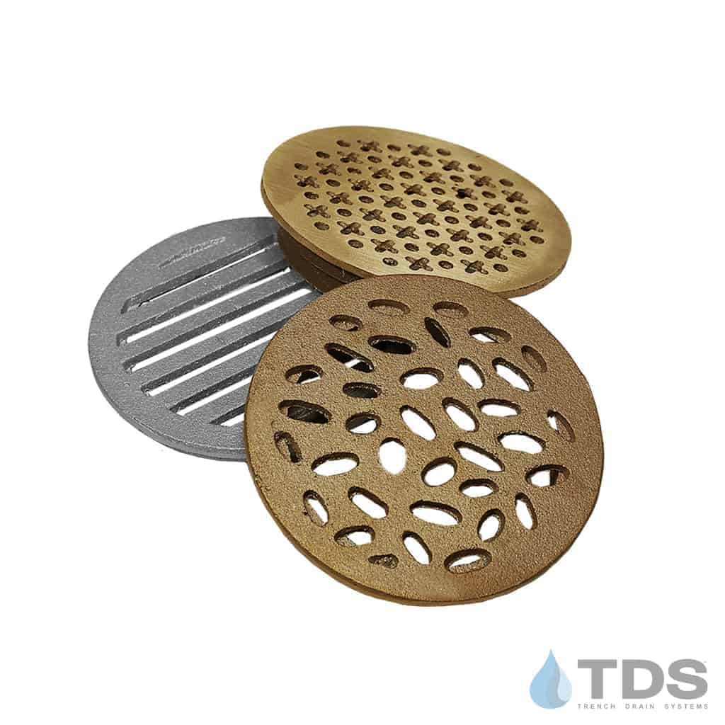 TDS 4 inch Point Drain Grates Rain Slotted Cathedral