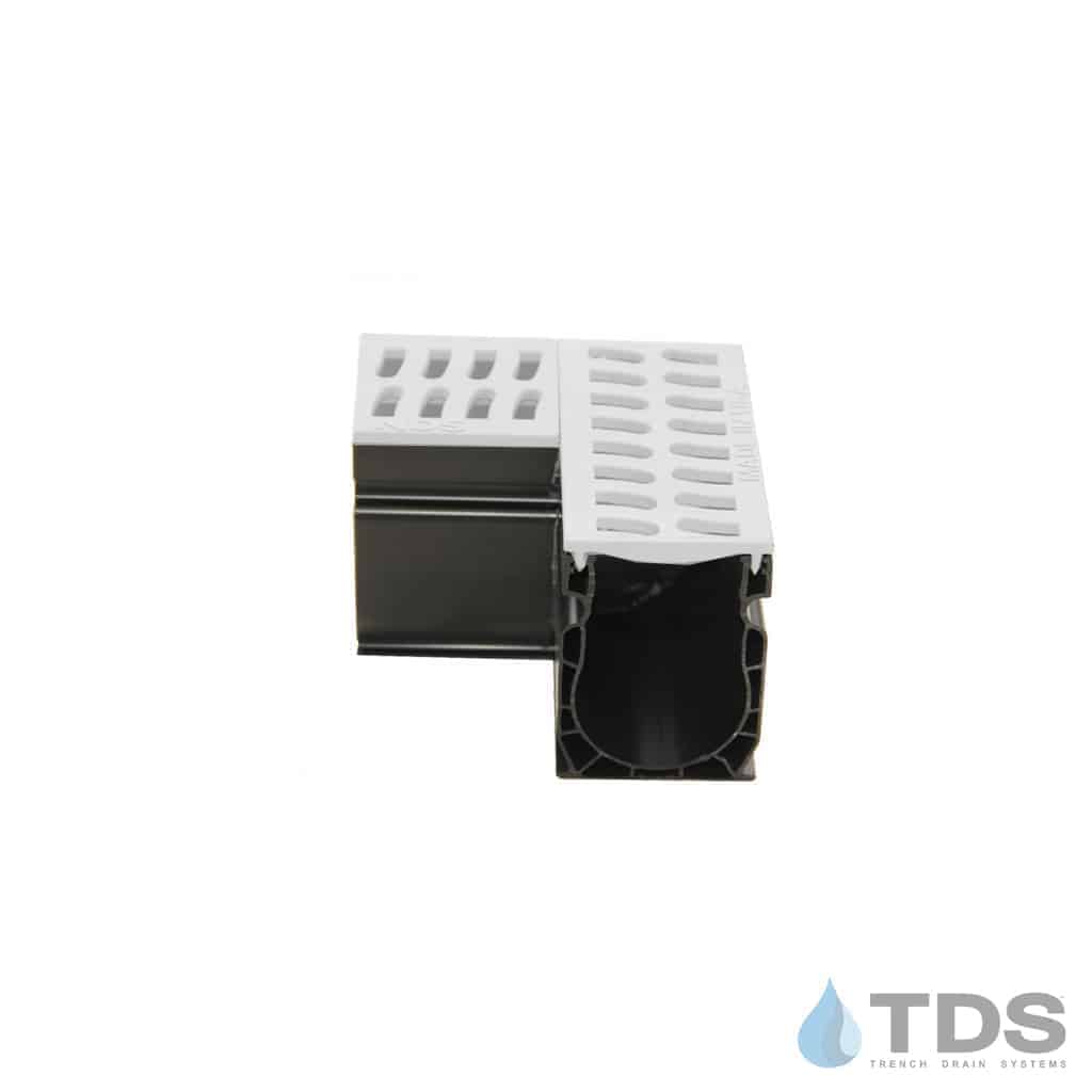 9381 NDS Slim Channel 90 Degree Angle with White Slotted Grate