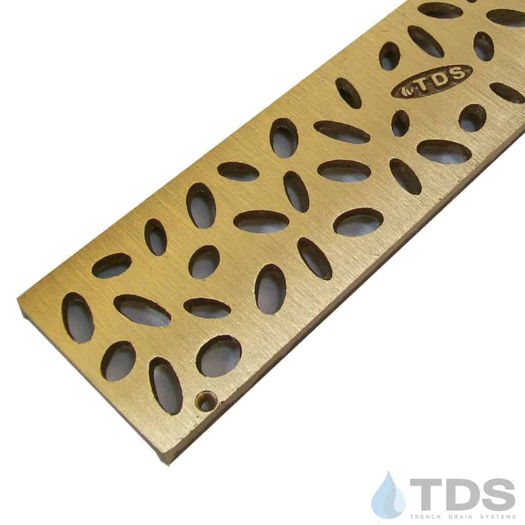 Trench Drain Systems satin bronze raindrop grates for NDS mini channel