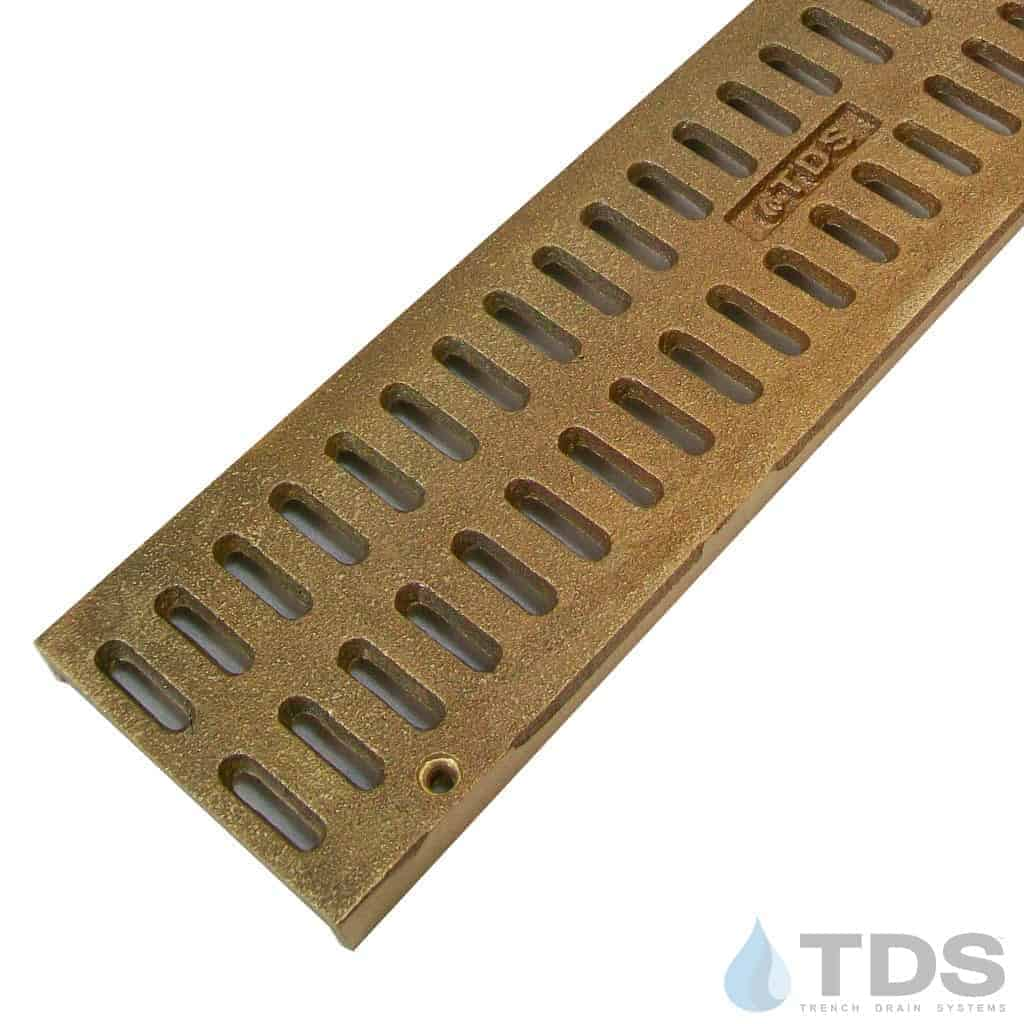 Trench Drain Systems natural bronze slotted grates for NDS mini channel