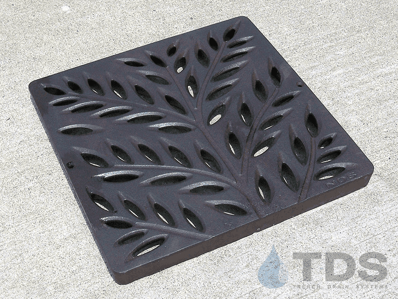 NDS1218CI-BF_Boof_Baked_on_oil_finish_Botanical-Catch_Basin_Grate_NDS_12x12