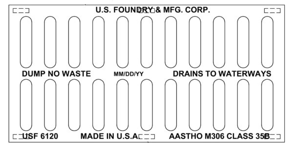 US Foundry 6120 cast iron grate 12x24x2