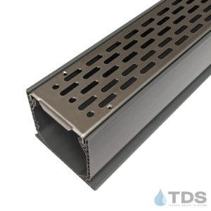 MCK-BA-SLOT-0336 Grey NDS Mini Channel with Stainless Steel Transverse Slotted Grate