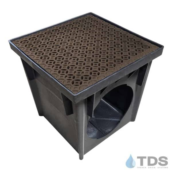 NDS 24 inch Catch Basin with Irn Age Interlaken BoOF Cast Iron Grate