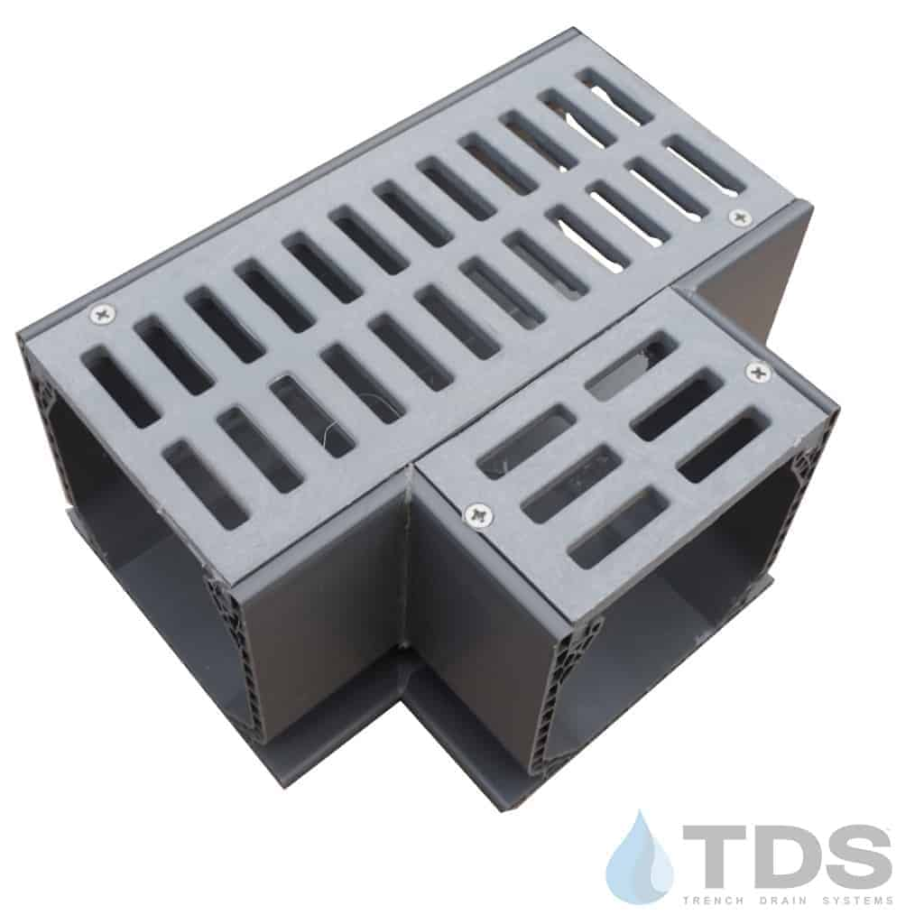 NDS Mini channel Tee 5370 with slotted gray grate