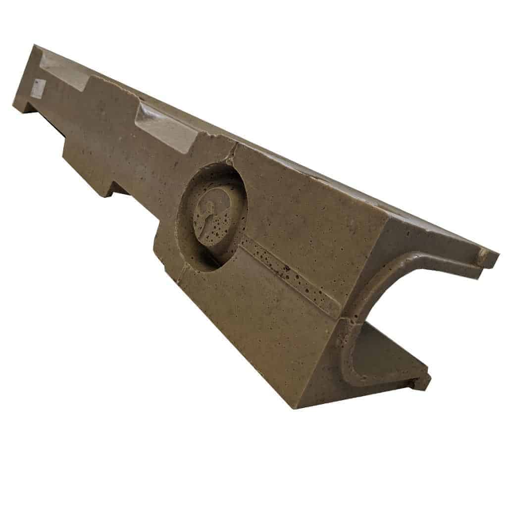 ULMA D100 polymer concrete channel bottom view with outlet