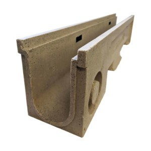 ULMA D100 polymer concrete channel side view of outlet